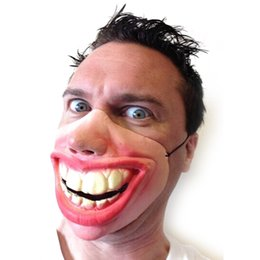 Wholesale horror fancy dress - Big Teeth Latex Mask for Movie Fancy Dress Hallowee Masquerade Party Horror Creepy Elastic Band Half Face Masks Funny Costume