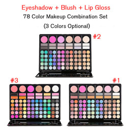 Wholesale Eyeshadow Blush Lip Gloss - High Quality Hot 78 Color Pearl Matte Eyeshadow Blush Lip gloss Makeup Combination 3 colors Available