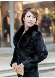 Wholesale Rabbit Skin Fur - Real natural full pelt rabbit fur coat with fox fur collar women short fashion whole skin genuine fur jacket waistcoats