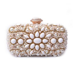 Wholesale Evening Bags Stones - Wholesale- 2017 Women Bead Clutch Vintage Stone Evening Bags Elegant Bridal Wedding Bag Party Evening Purse Crystal Diamond Day Clutch