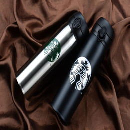 Wholesale Glass Drinking Water Bottles - Wholesale Top Quality Starbucks Water Bottle High Capacity Glass Stainless Steel Thermal Insulation Cup 500ML 9 Styles Free Shipping