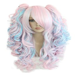 Wholesale Wig Mix Pink Ponytail - 70cm Long Blue Mixed Pink Wavy Braided 2 Ponytails Synthetic Party Cosplay Wig