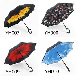 Wholesale Two Fold Umbrella - New Two Layers Non Automatic Paraguas Rain Umbrella With C-shape Handle Reverse Folding Windproof Inverted Umbrellas Free DHL YH001-025