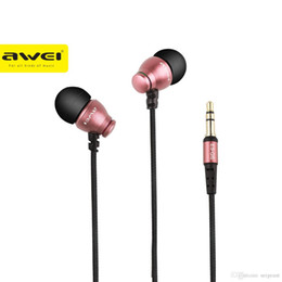 Wholesale Earphones Isolation - Original AWEI ES Q6 3.5MM HiFi Noise Isolation Earphone Stereo Music Bass In-ear Earphone with Microphone for iphone for xiaomi