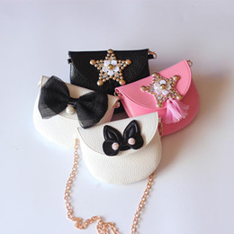 Wholesale Children Messenger Bag Wholesale - 10 Style 2017 New Children INS Golden Sequins Shoulder PU Bags Girls Gold Bow Hand Messenger Metal Chain Bags wallet B001
