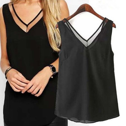 Wholesale Chiffon Tank Top Sleeveless Women - 2017 NEW Women V-Neck Vest Summer Loose Chiffon Sleeveless Tank T-Shirt Top Blouse