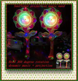 Wholesale Toy Magic Windmill - Wholesale LED Sunflower Power Projection Magic Wand Large Music Windmill Dancing Lamp Flashing Stick Children Puzzle Toy free shipping
