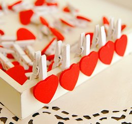 Wholesale Korean Wooden Clip - wholesale -100pcs korean style Cute Red love wooden clamps wooden heart-shaped clip DIY photo clamp