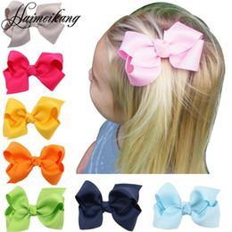 Wholesale Handmade Hairbows - Haimeikang 8cm 10Pcs Lot Girls Hair Bows with Clips Infant Hairbows Ribbon Bow Hair Clip Baby Girls Hairclip Handmade Hair Bow