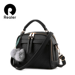 Wholesale Pillow Balls - Wholesale- REALER brand women handbag with fur ball small tote bag female shoulder messenger bags fashion portable bag