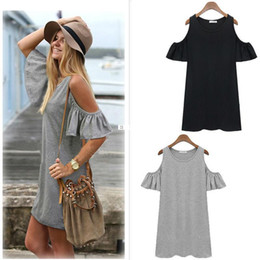 Wholesale Tops Casual Sexy Cotton - Women Summer Style Beach Dresses Ladies Sexy Short Sleeve Cotton Grey Dress New Brand Woman Casual Jersey O-neck Tops Clothes.