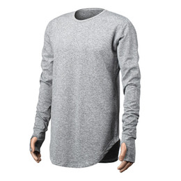solid men t shirt full sleeve Coupons - Mens Hip Hop T Shirt full Long Sleeve T-Shirt With Thumb Hole Cuffs Tees shirts Curve Hem Men Street Wear Tops