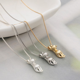 Wholesale pets snakes - Cute Cat Necklace & Pendant For Women ladies Gifts Silver Gold Color Trendy Animal Pet Charm Jewelry Fashion Accessories 2017 new hot sale