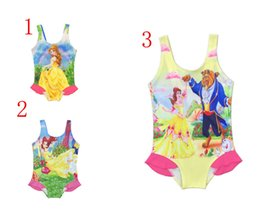 Wholesale Wholesale One Piece Baby Clothing - 3 color Girl Swimsuits Kids Tankini Bikinis Baby One-piece Swimming Girls Swimwear Swimming Baby clothes Beauty and the Beast clothing XT
