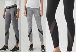 Wholesale Elastic Black Trouser - Wholesale Brand Logo Lulu Crop Yoga Gym Elastic Pants Mesh cropped trousers Women Sport Fitness Leggings Tights Sportswear Yoga pants 2018
