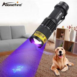 Wholesale Ultraviolet Lighting - ALONEFIRE SK68uv 365nm mini Zoom UV ultraviolet light to detector lamp flashlight
