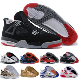 Wholesale Lace Lycra Top - [With Box]2016 Wholesale top quality Air Retro 4s white cement Bred Fire red retro 4 Men Basketball Shoes sneakers sports Size 8.0-13