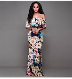 Wholesale Lady Flange - Europe color a word shoulder leaf collar flange slim package hip dress evening dress for women ladies