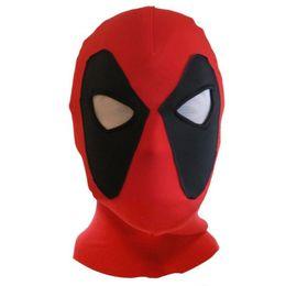 Wholesale superhero hats - Wholesale- Halloween Cosplay PU Leather Deadpool Masks Superhero Balaclava Costume X-men Hats Headgear Arrow Party Neck Hood Full Face Mask