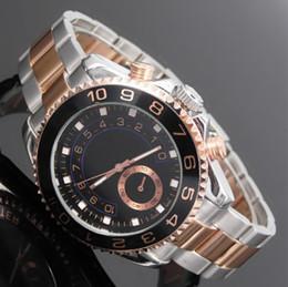 Wholesale Christmas Time Lights - New 44MM Luxury watch brand luxury quality man's highest military sports timing wrist watch yellow light golden port 44 mm quartz watch