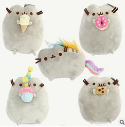 "Wholesale Hot Dog Stuffed Animal - 2016 Hot Sale 5 style 9"" 23cm Pusheen Cookie & Icecream & Doughnut Rainbow cat Plush Doll Stuffed Animals Toys For Child Gifts"
