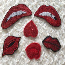 Manchas de ferro lantejoulas on-line-1 conjunto de patches de lantejoulas bordadas incluem 6 peças iron-on lip pattern zakka patchwork diy handmade appliques para costura