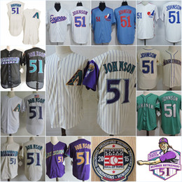 Wholesale Baseball Montreal - Mens Randy Johnson Montreal Expos 1994 Throwback Vintage Jersey Stitched Randy Johnson retirement Patch 2015 HOF patch baseball Jersey S-3XL