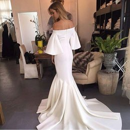 Wholesale Neck Ruch - 2017 Luxury Evening Dresses Chic White Mermaid Off the Shoulder Poet Sleeve Ruch Floor Length Formal Evening Gowns Custom Made