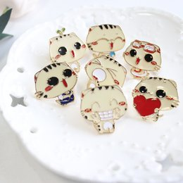 Wholesale Kid Clothing Wholesale China - lovely cat brooch pins alloy boutonniere stick cat with personal expression look for lady, girls, kids' clothes & bags, cat pin, price cheap