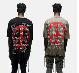 Wholesale Thin Long Sleeve T Shirts - Top quality thin Slub cotton streetwear World Peace Freedom kanye west oversized T-shirts dropping shoulders hip hop clothing