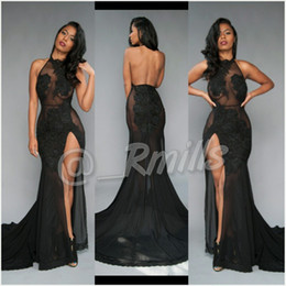 Wholesale New Look Summer Dresses - Sexy Backless Lace Sheer Tulle Mermaid Prom Dresses 2017 New Halter Neck Illusion Look Long Train Little Black High Split Evening Gowns