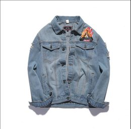 Wholesale Military Denim - Palace Jeans Jacket Men Triangle Flame Fire Palaceus Jackets military bomber jacket Men chaqueta hombre Purpose Tour kanye Jacket 1 order
