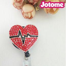 Wholesale id badge holder retractable wholesale - 5pcs lot Nurse, Teacher, Student Other Uniform Rhinestone Red Heart Pumping Retractable Reel Plastic  Id Card Badge Holder
