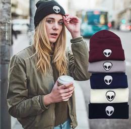 Wholesale halloween alien - New Europe aa Fashion Trend alien embroidery map street knitting hat men and women warm wool hat