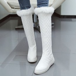 Wholesale White Fur Fashion Boots - fashion women winter warm long leg boots with rabbit fur and flat heel new arrival hot shoes SCP086