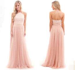 Wholesale Halter Lace Prom Dress Blush - Sexy Blush Pink Bridesmaid Dresses Tulle Halter Neck Backless Bohemia Wedding Maid of Honor Gown Prom Formal Occasion Dress 2017 Custom Made
