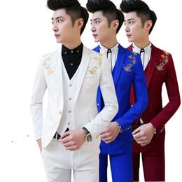 Wholesale Men Boys Slim Fit Suits - Wholesale- free shipping new Korean Mens casual suit Slim fit boys prom suits 3-piece royal blue mens suit wedding red tuxedo jacket