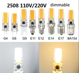 Wholesale E14 Led Cob Corn Bulb - LED Corn Bulbs Dimmable Silicone Body Lamp G4 G8 G9 E11 E12 E14 E17 BA15D 110V 220V COB 2508 White Light bulb