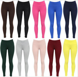 Wholesale Outdoor Yoga Clothing - 2017 Solid Color Yoga Pants High Waist Yoga Sports Leggings Ten Color Fashion Tight Outdoor Fitness Clothes
