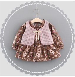 Wholesale Baby Waistcoat Outfit - Girls Flower Dresses+Knit Waistcoats Outfits 2017 Fall Kids Boutique Clothing Korean Fashion Baby Girls Long Sleeves Dresses 2 Pieces Set