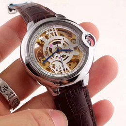 Wholesale Mechanical Watch For Girl - High quality AAA women watches luxury brand Fashion Genuine Leather Skeleton dial mechanical automatic watch for lady girl dress wristwatch