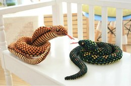 Wholesale Plush Snakes - Wholesale- The snake plush toy big pillow doll Zodiaca Simulation snake Cobra Python pattern props Special gifts for children 100CM