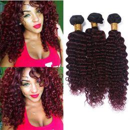 Wholesale 14 Inch 99j - Dark Roots 1B 99J Ombre Deep Wave Human Hair Virgin Brazilian Deep Curly 3 Bundles 1B Burgundy Ombre Malaysian Hair Weave Extensions