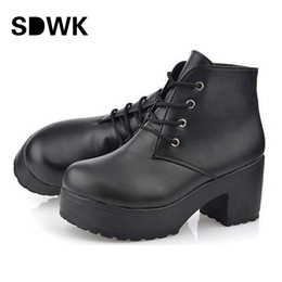Wholesale Thick Punk Boots - Wholesale-2016 New Fashion Black&White Punk Rock Lace Up Platform Heels Ankle Boots thick heel platform shoes free shipping B194