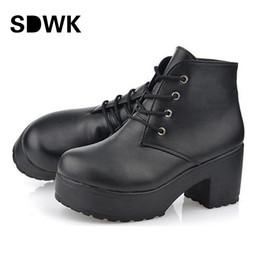Wholesale Lace Up Platform Heel Punk - Wholesale-2016 New Fashion Black&White Punk Rock Lace Up Platform Heels Ankle Boots thick heel platform shoes free shipping B194