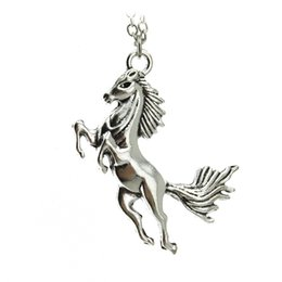 "Wholesale Horse Gifts Free Shipping - Wholesale-[$5 Minimum] 2016 Women Jewelry Vintage Silver Tone Horse Pendant 18"" Short Necklace ED4425 Xmas Gift Wholesale Free Shipping"