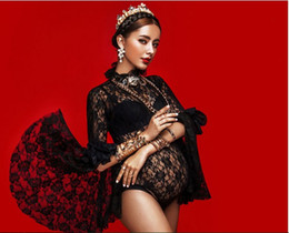 Картины для беременных женщин онлайн-Maternity Gown Black Lace Bodysuit Photography Props Fancy Pregnant Women Pregnancy Picture Photo Shoot Dress Clothes In Home