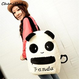 Wholesale Furry Animals - Wholesale- ChengEVA 1PC Hot Sale Attractive Elegant Panda Backpack Cute Bag Purse Animal Soft Ears Pom Poms Furry Zippers Bag Nov 4