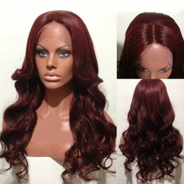 red hair color hairstyles Coupons - 99J Color Lace Front Human Hair Wigs Middle Part 9A Virgin Brazilian Human Hair Full Lace Wigs Red Color Lace Front Wigs