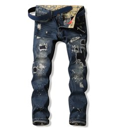 Wholesale Skinny Harem Jeans For Men - Wholesale- Men Jeans Ripped Biker Hole Denim robin patch Harem Straight punk rock slim embroidery jeans for men Pants